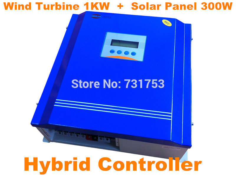 Wind&Solar Hybrid Controller With Communication LCD Display For Wind Turbine1KW + PV 300W 24V or 48V Battery Charge Controller недорого