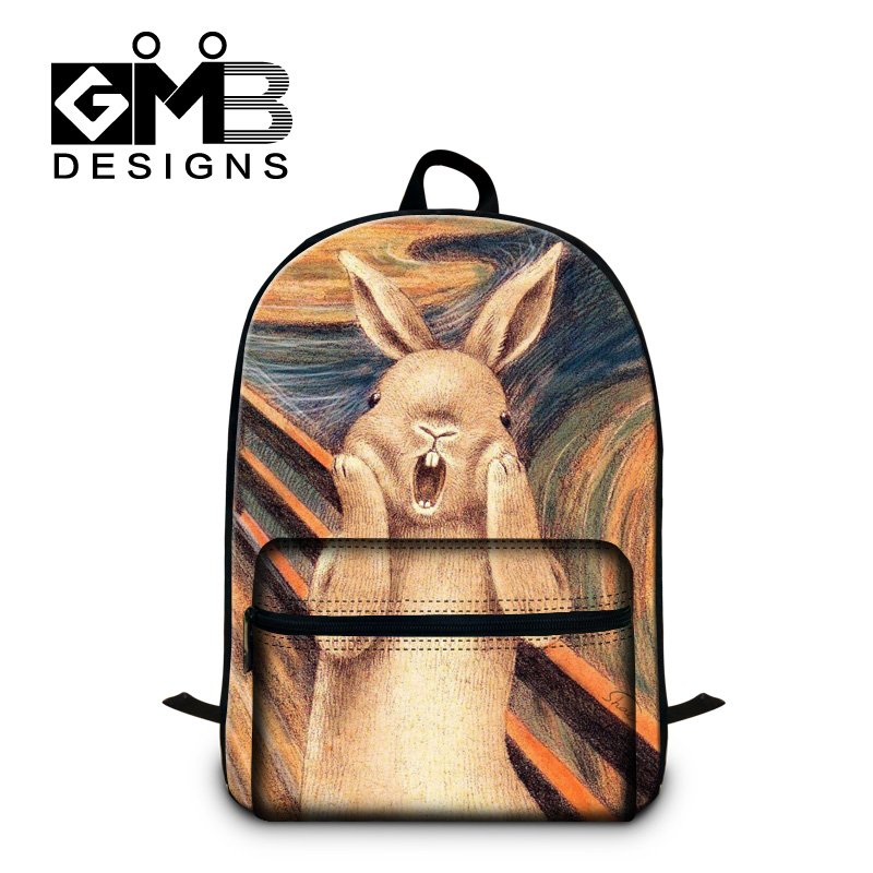 Designer Rabbit school backpacks for teens,cool Lion animal back pack for men,childrens cute Illustration school bag bookbags