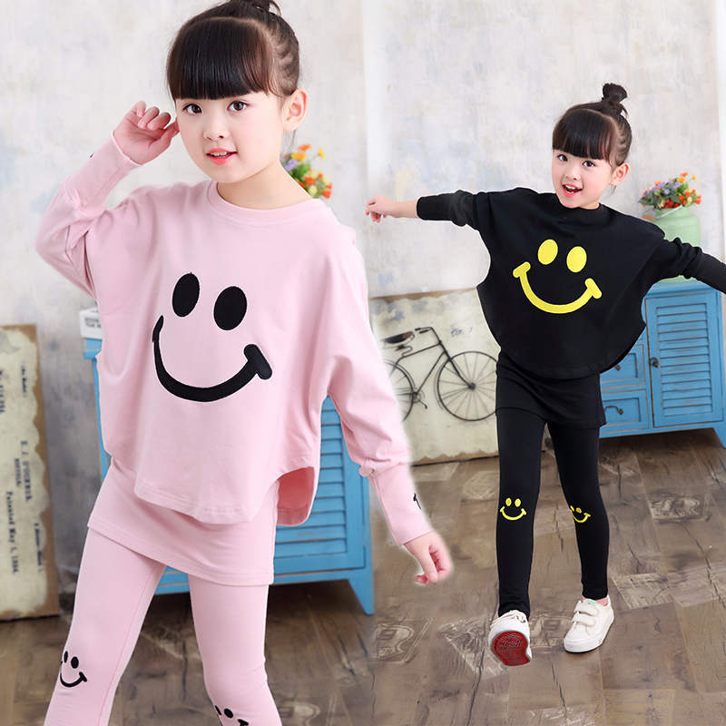 Autumn Kids Girls Clothes Set Emoji Print T-shirt + Pant 2 Pcs Baby Christmas Outfit Girls Sport Suit 2017 New Children Clothing 2017 new fashion kids clothes off shoulder camo crop tops hole jean denim pant 2pcs outfit summer suit children clothing set