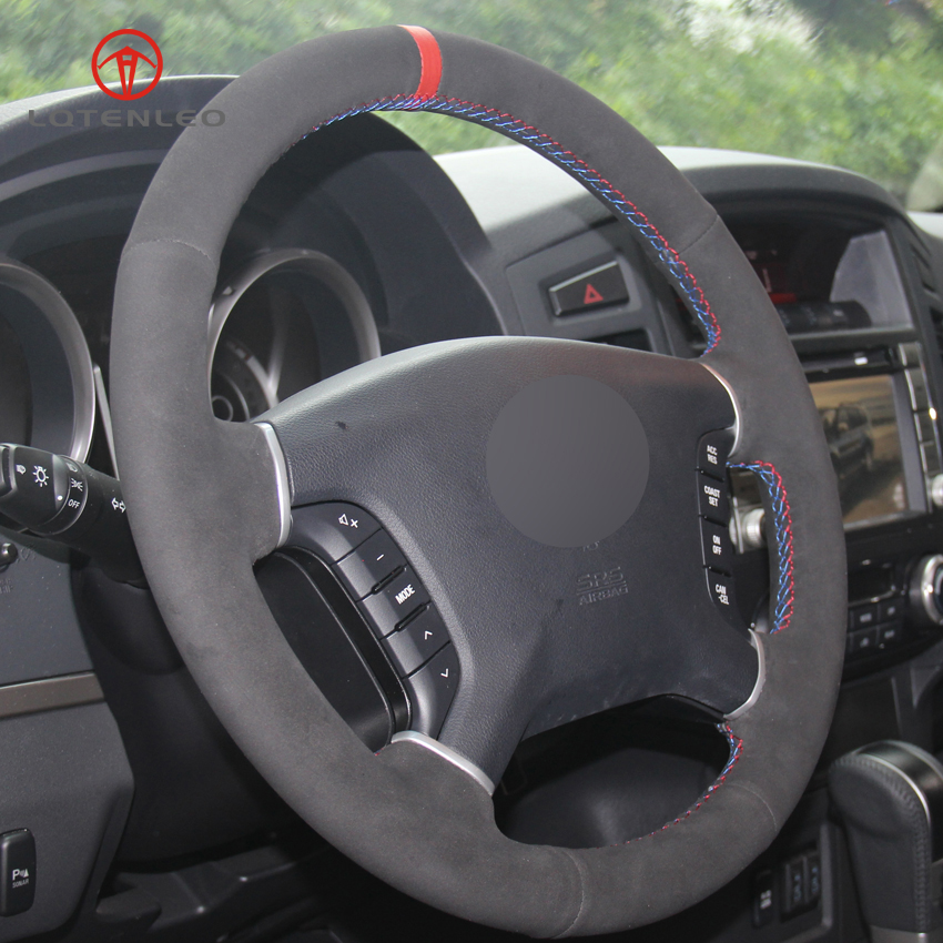US $52 99 |LQTENLEO Black Suede Hand stitched Car Steering Wheel Cover For  Mitsubishi Pajero 2007 2019 Galant 2008 2012 Zinger 2008 2011-in Steering
