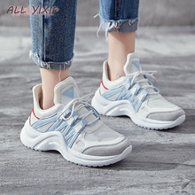 ALL YIXIE 2019 New Fashion Women Casual Sneakers Trends Ins Female White Flats platform Spring Summer Lace Up Vulcanized Shoes