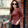 2017 Women Vintage Fashion Long Sleeve Shirt Solid Color V-Neck Female Autumn Spring Slim Fit Casual Long Sleeve Shirts Wt940