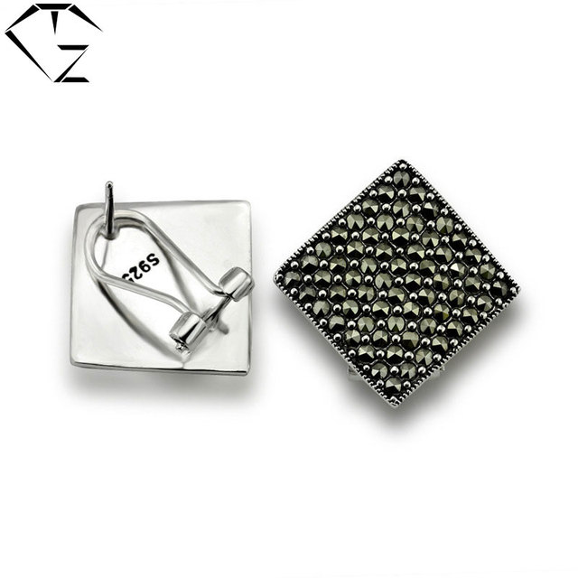 GZ 925 Silver Square Earrings Women MARCASITE 100% S925 Sterling Silver boucle d'oreille Stud Earring Jewelry