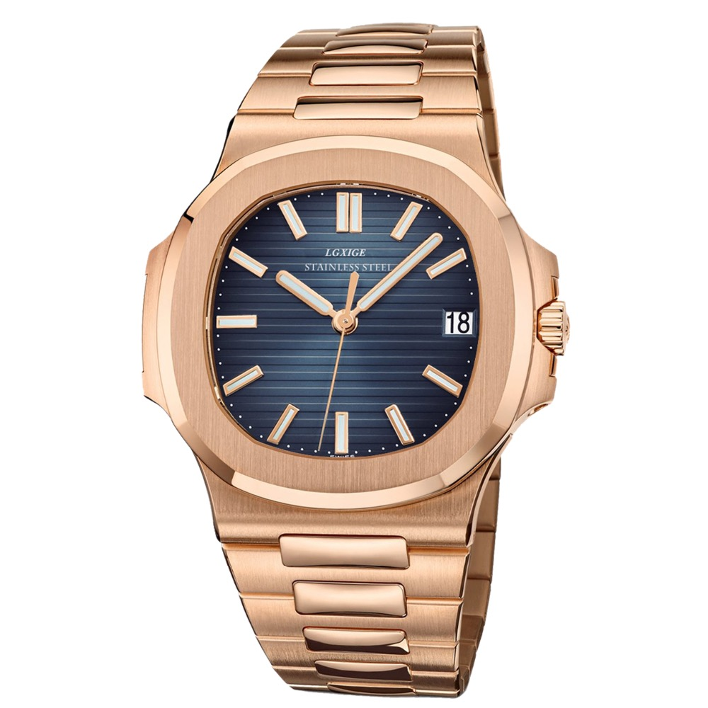 Rosegold Male Fashion Sport Shockproof Casual Men Dress Watches Stainless Steel Military Waterproof Wristwatch Rose gold minifocus fashion military waterproof shockproof men wristwatch black blue leather quartz watches male casual sport date clock
