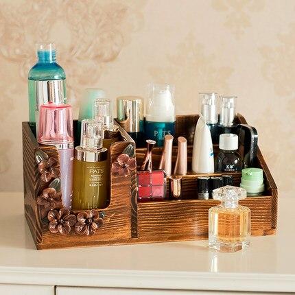 Cosmétique boîte de rangement en bois soins de la peau meuble-lavabo plateau rouge à lèvres de bureau finition boîte