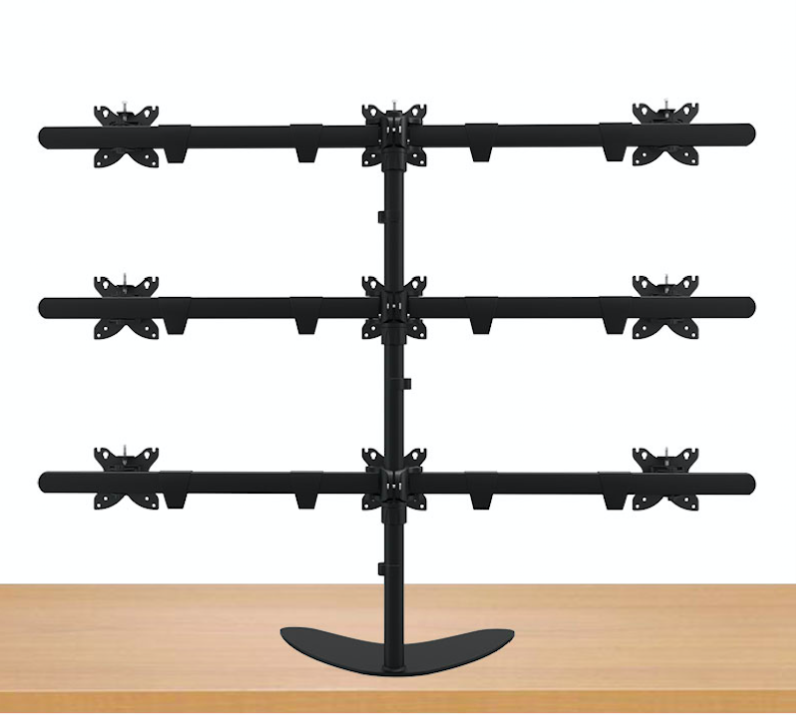 15-24 Aluminum Alloy 9 Screen LCD TV Mount Free Lifting Sliding Full Motion 9 Monitor Holder Desktop Stand