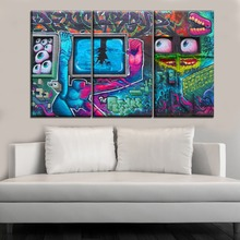 цена на 3 Piece Wall Spray Paint Unique Colorful Funny Artistic Abstract Painting On Canvas Print Type Poster And On The Bar Wall Decor