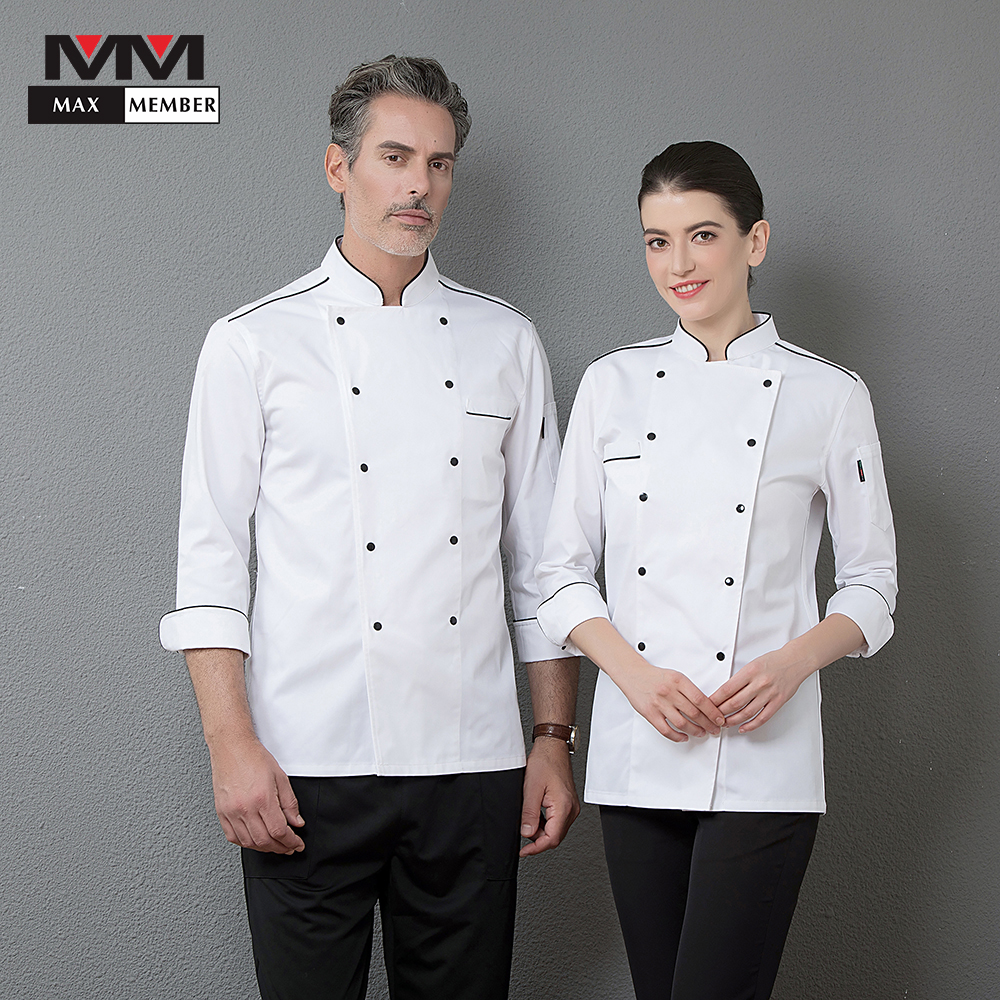 Wholesale Men White Long Sleeve Double Breasted Work Jacket Top Restaurant Kitchen Chef Cooking Coat Cozinha Uniform Clothing