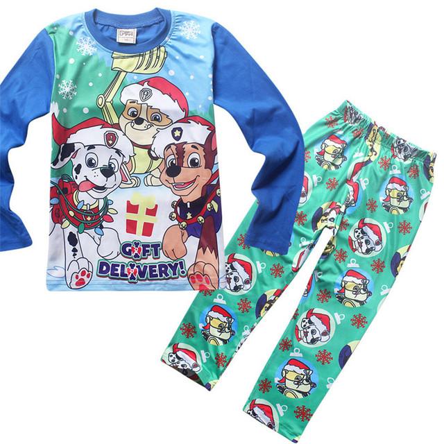 Meninos pijamas crianças pijama de natal roupas da família 2 pcs algodão pijamas meninas roupas cão dos desenhos animados crianças pijamas infantil 2016