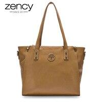 Zency 100% натуральная кожа черная сумка модная женская сумка через плечо Большая вместительная сумка для покупок женская сумка через плечо