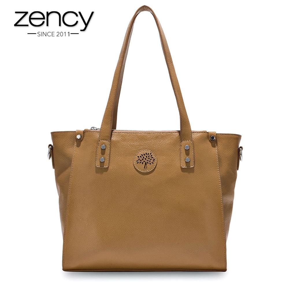 Zency 100% Genuine Leather Black Handbag Fashion Women Shoulder Bag Large Capacity Shopping Bags Lady Crossbody Messenger Purse