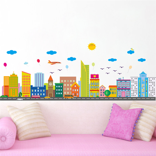 8f424e3a5 colorful city sun clouds wall stickers for kids rooms living room home decor  cartoon plane wall decals art pvc mural diy posters