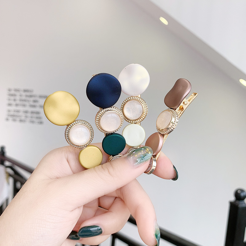 New Women Elegant Acrylic Colorful Circle Hairpin Girls Ins Sweet Hair Clip Barrettes Headband   Headwear   Fashion Hair Accessories