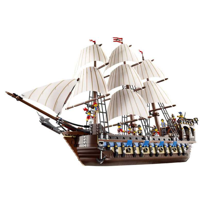 2016 New LEPIN 22001 1717Pcs Pirates The Imperial Flagship Huge Ship Model Building Kit Blocks Bricks Toys Gift 10210 1717pcs new 22001 pirates of the caribbean imperial flagship diy model building blocks big toys compatible with lego
