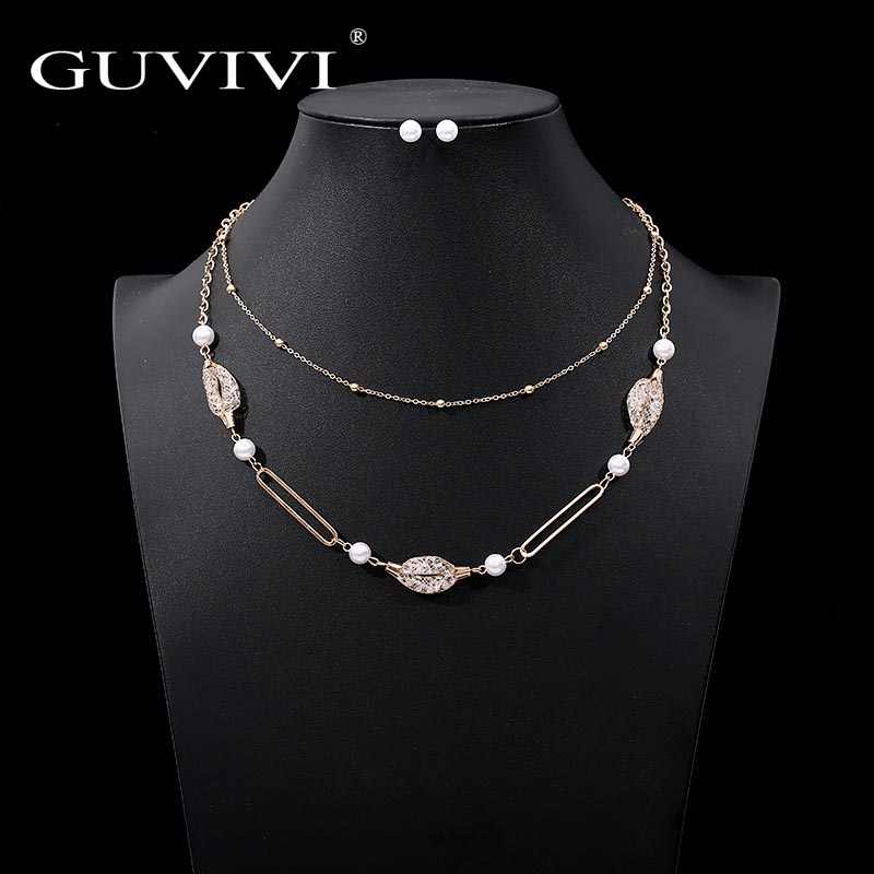 Guvivi Jewelry Sets African Bridal Gold Color Necklace Stud Earrings Wedding Crystal Set for Women Fashion Costume Jewellery Set