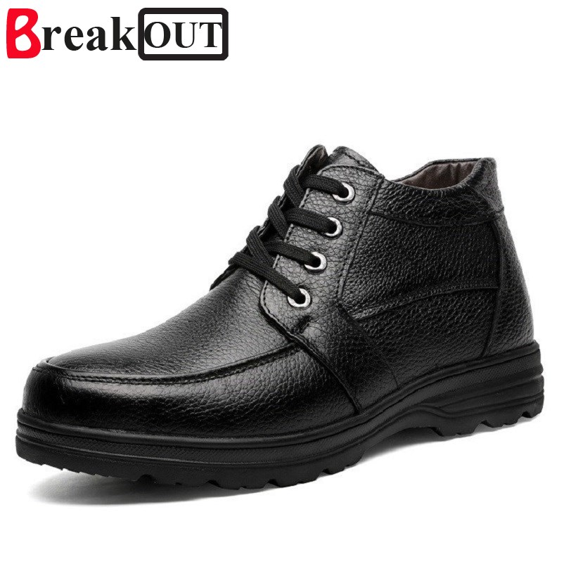 Break Out New Men Winter Boots Men Snow Boots Warm with Plush Genuine Leather Waterproof Rubber