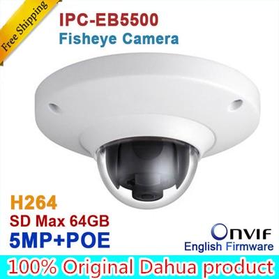 Dahua IPC-EB5500 5MP Full HD 1080P PoE WDR Panorama 360 Degree Fisheye Dome Network IP Camera built-in MIC support SD card in stock dahua ipc k200wn 2mp ip66 hd cube network camera