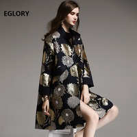 Top Quality Designer Coat Trench Autumn Spring Overcoats Women Didamond Beading Vintage Jacquard Print Plus Size Long Coat Femme
