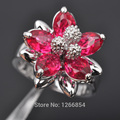 Flower Design Red Stone Cubic Zirconia 925 Sterling Silver Jewelry Ring For Women Free Shipping Size 6/7/8/9/10Z0489
