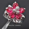 Projeto da flor Cubic Zirconia 925 Sterling Silver Jewelry Anel de Pedra Vermelha Para As Mulheres Tamanho Frete Grátis 6/7/8/9/10Z0489