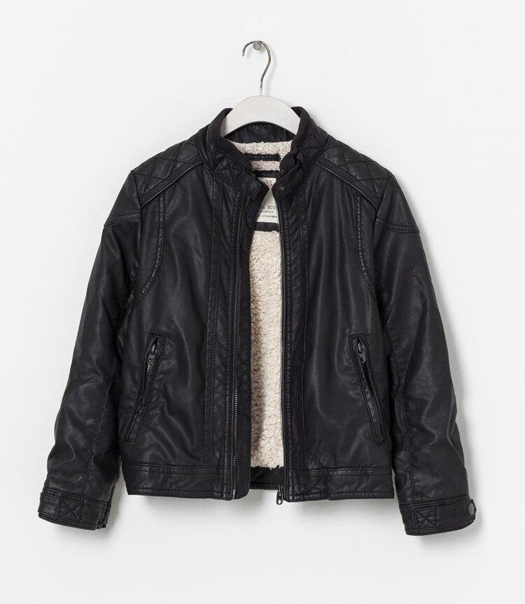 ФОТО 2015 new models child boys leather jackets collar plus velvet zipper thin section Black pu leather kids coats Children Outerwear