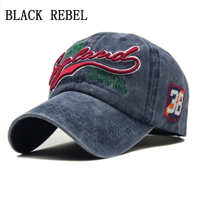 Black Rebel Washed Denim Women Baseball Cap Dad Brand Bone Hats For Men Hip hop Gorras Fashion embroidery Vintage Hat Caps