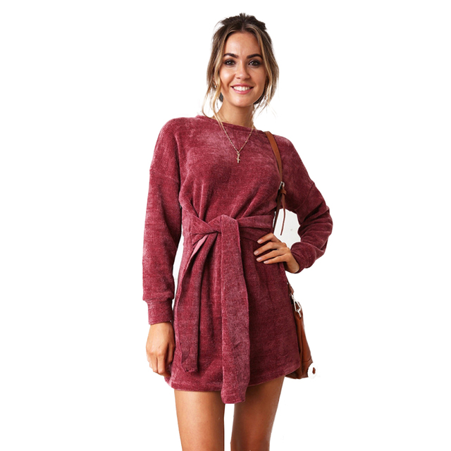 85a4f784735f Fall Women Dresses Sheath Fashion O-Neck Bow Velvet Womens Holiday Bodycon Dress  Ladies Long Sleeve Party Mini Fall Dress Hot