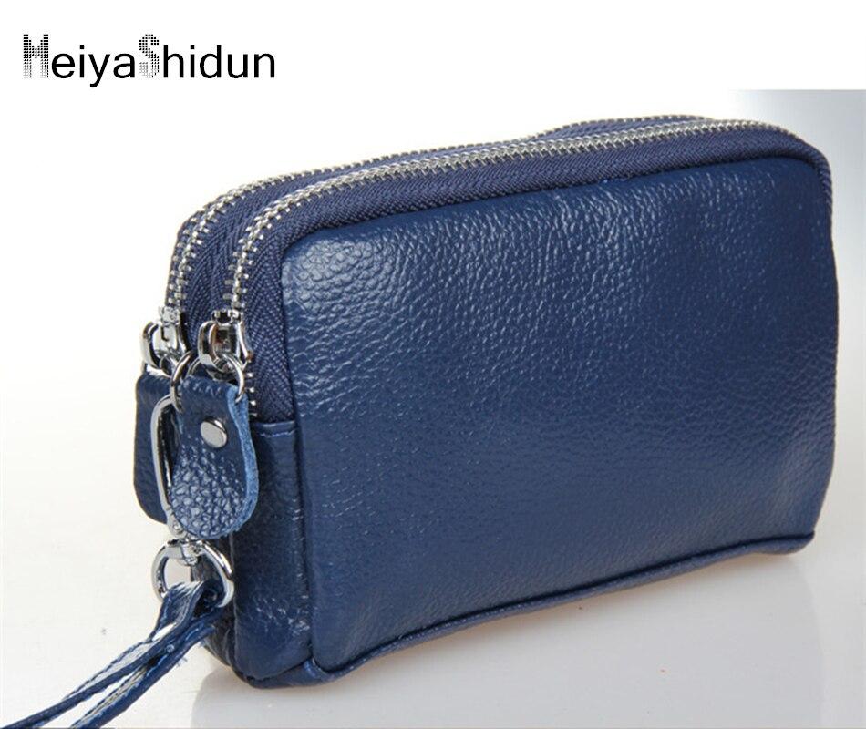 8a9be7c2e MeiyaShidun mulheres bolsa 100% couro Genuíno carteiras saco de embreagem  senhora de couro real cowskin carteiras duplo zíper pequeno saco de  embreagem
