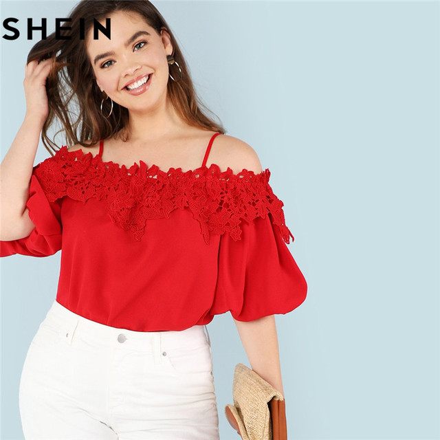 3ec1a757d7 SHEIN Red Casual Cold Shoulder Lantern Sleeve Plus Size Ladies Workwear  Blouses Summer New Spaghetti Strap Lace Applique Blouse