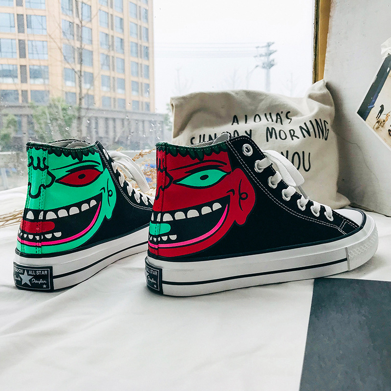 Fashion Hand-painted Hip Hop Street Dance Personality Lovers Shoes Women's Vulcanize Shoes Canvas Shoes Skate Shoes Sneakers