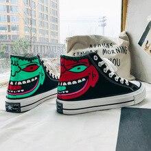 Moda Hip Hop pintado a mano, baile callejero, amantes de la personalidad, vulcanizados zapatos de mujer, zapatos de lona, zapatos de Skate, zapatillas