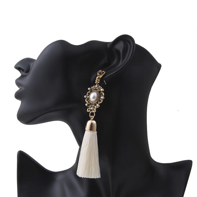 Big Pearl Drop Tassel Earrings