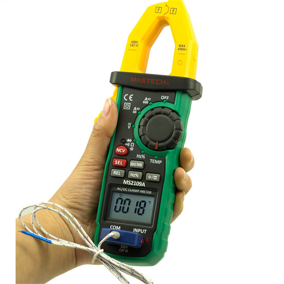 MASTECH MS2109A Auto Ranging Digital AC/DC Clamp Meter True RMS 600A Volt Amp Ohm Frequency Capacitance Temperature NCV Tester 1 pcs mastech ms8269 digital auto ranging multimeter dmm test capacitance frequency worldwide store
