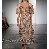 Women Empire Waist Multicolor Peach Tapestry Folds Ruffle Painted Hearts Midi Skirt
