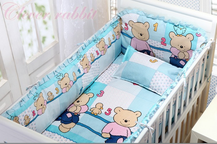 Promotion! 6pcs Crib Bedding Sets, baby bedding,Good Cotton Bedding Set ,Bed Linen (bumpers+sheet+pillow cover)