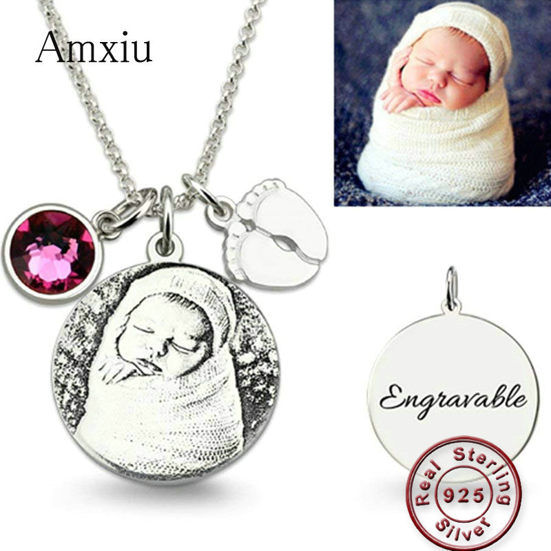 Amxiu Personalized 925 Sterling Silver Necklace Engrave Family Photo with Birthstone Name Pendant Necklace Feet Picture JewelryAmxiu Personalized 925 Sterling Silver Necklace Engrave Family Photo with Birthstone Name Pendant Necklace Feet Picture Jewelry