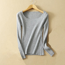 ФОТО new spring and autumn thin cashmere sweater ladies tight knit sweater round neck fashion solid color bottoming shirt