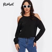 ROMWE Black Open Shoulder Long Sleeve Pullover 2017 New Arrival Autumn Crew Neck Woman Clothing Top