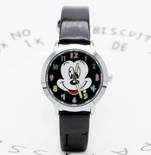 Fashion Watches Cute cartoon quartz wristwatch children leather watch Mickey wat