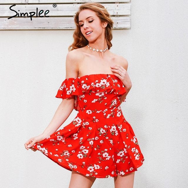 Simplee Off shoulder ruffles print jumpsuit romper women High waist chiffon sexy playsuits leotard Boho summer pleated overalls