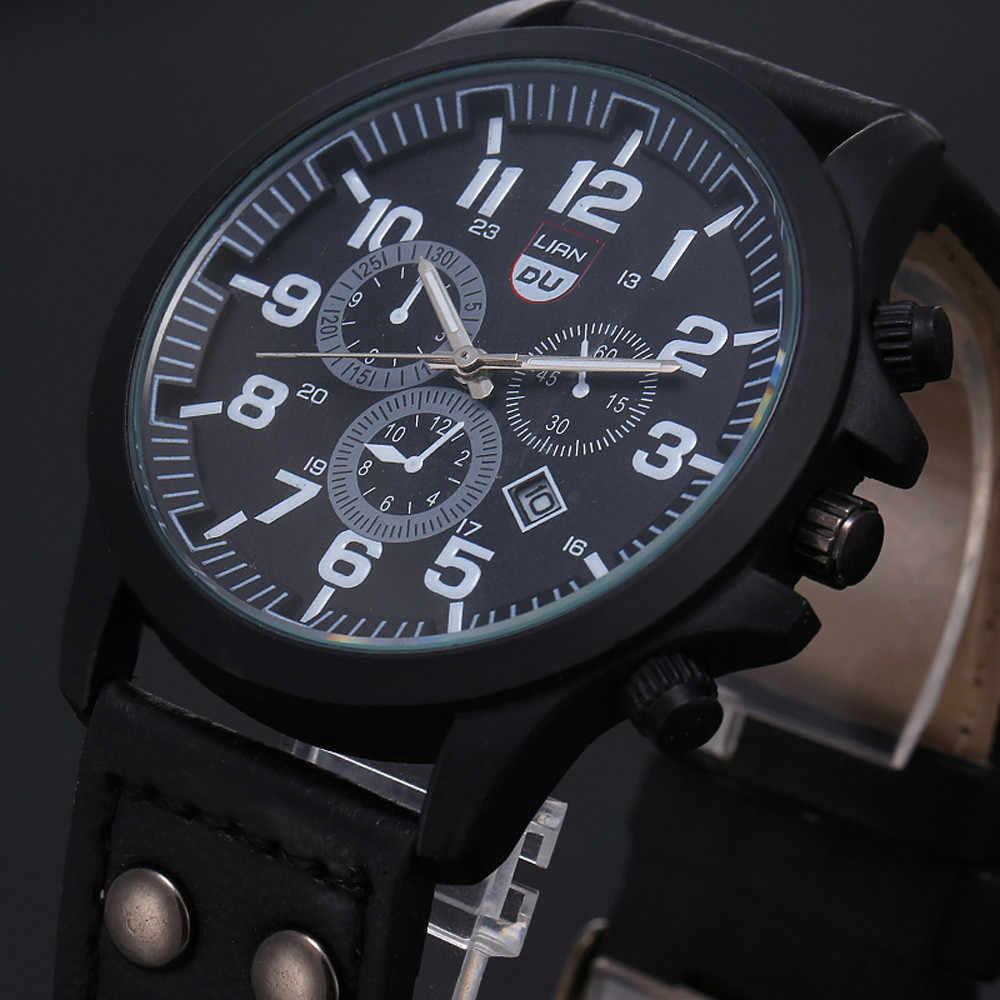 2019 בציר קלאסי שעון גברים שעונים נירוסטה עמיד למים תאריך רצועת עור ספורט קוורץ צבא relogio masculino reloj