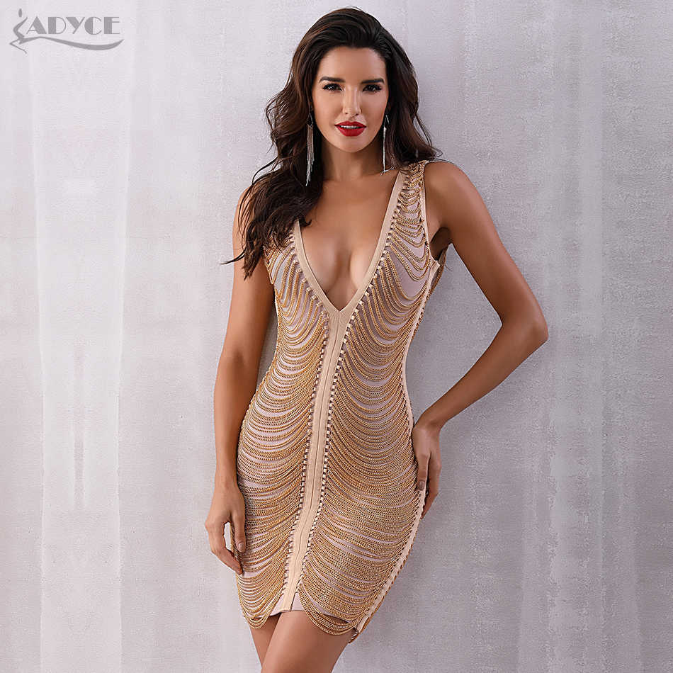 ADYCE 2018 New Summer Women Bandage Dress Vestidos Sexy Deep V-Neck  Sleeveless Tassel Fringe 373a4b132faf
