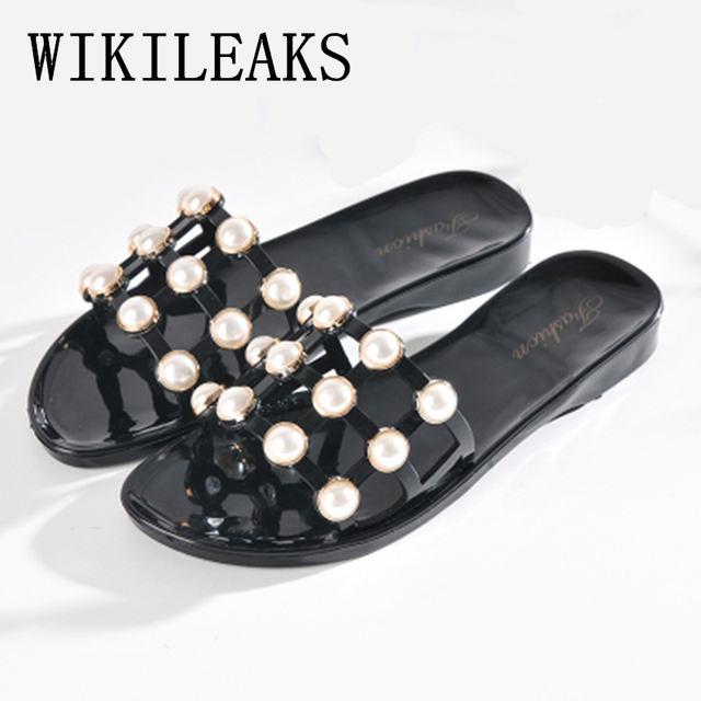 2019 summer shoes pearl slippers women designer slides beach shoes zapatos  mujer sandalias luxury brand slipper women flip flops 464ae7590168