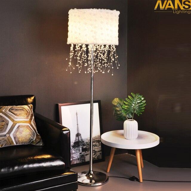 Crystal LED Floor Lamp Softlighting Nordic Design White Fabric floor light adjustable Control color of standing lamp