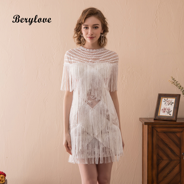 Berylove Sexy Short White Cocktail Dresses 2018 Mini Tassel Sheath