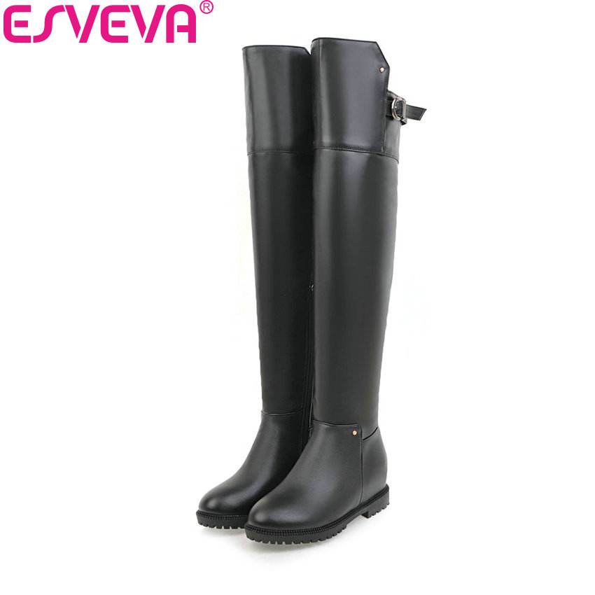 ESVEVA 2018 Women Boots PU Leather Short Plush Out Door Round Toe Over The Knee Boots Square Med Heel Ladies Boots Size 34-43 esveva 2018 women boots square heels pu leather short plush out door high heels ankle boots round toe ladies boots size 34 43