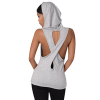 Summer Sexy Women Tank Tops Hooded Back Cross Hollow Gym Fitness Sport Sleeveless Vest For Running