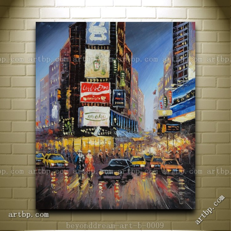 Kitchen Art Nyc: New York Time Square Street Scene Oil Painting