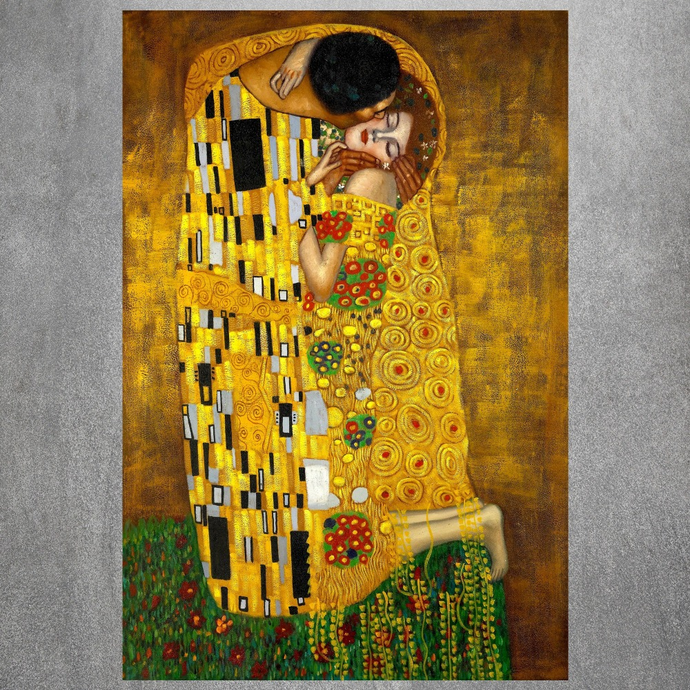 Gustav Klimt The Kiss art painting wall posters canvas print 12x18 ...