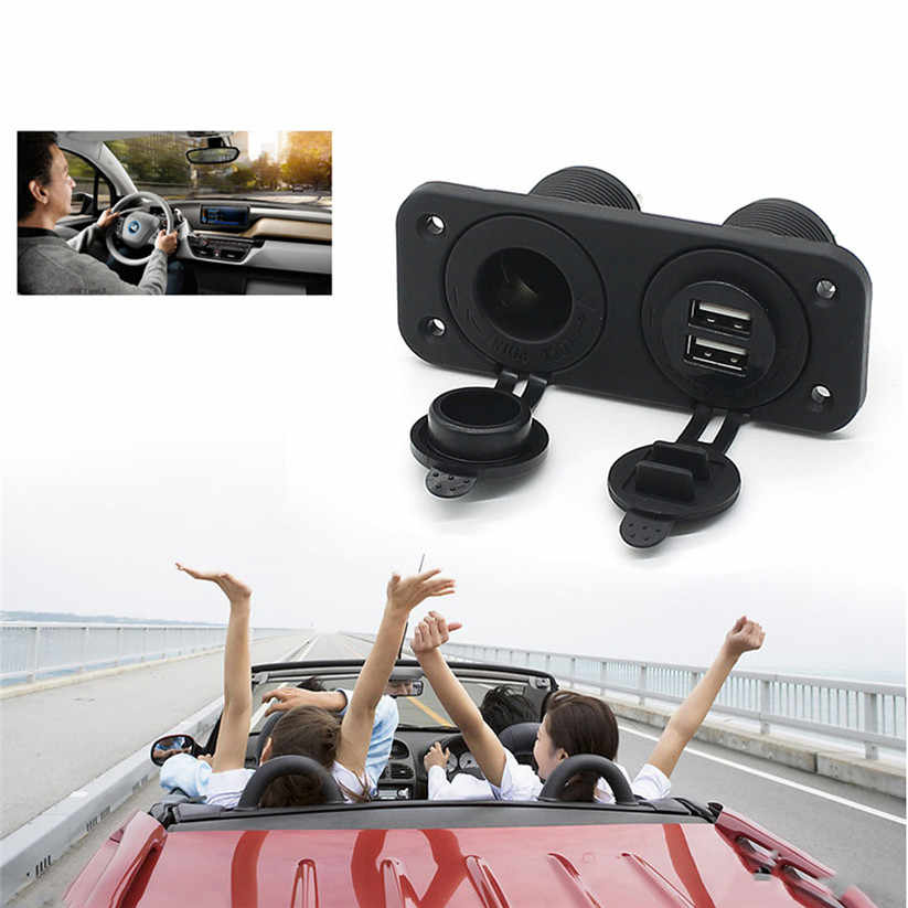 Car-styling wupp Cigarette Lighter Dual USB Charger and Socket Panel Mount Marine 12 Volt Power Outlet L0521